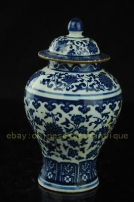 Antique Chinese Blue and white porcelain pot cans vase RR32