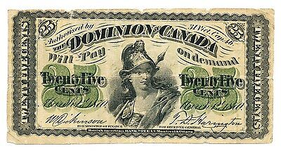 DOMINION OF CANADA 25 cent 1870 DICKINSON - HARINGTON SHINPLASTER DC-1c