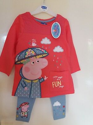 Girls Peppa Pig Embroidered 2 Piece Top & Legging Set,  Boys George Pig Pj Set