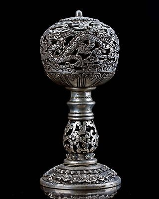 Chinese Collectable Silver Copper Hand Carved Dragon Incense Burner Z9