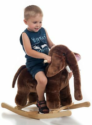 Elephant Plush Rocking Horse Animal Mo Mammoth With Sounds Ride On Toy By Happy