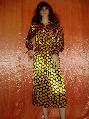 80s black and yellow print skirt suit size 8