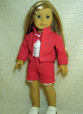 """Doll Clothes 4PC PINK DENIM JACKET + SHORTS + TOP fits American Girl 18"""" *11"""