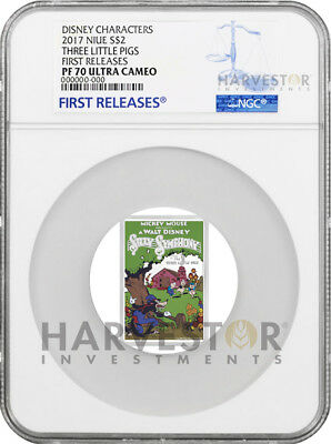 2017 Disney Poster Coin - Three Little Pigs - Ngc Pf70 First Releases - W/ogp