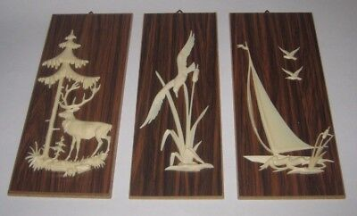WOOD & Plastic ANIMALS Birds SAILBOAT Vintage WESTERN GERMANY Wall PLAQUES