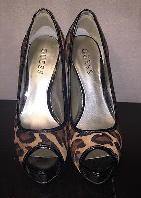 Women/'s Shoes Guess HONORALY Peep-Toe Pumps Stiletto Heels Pony-hair Brown Multi