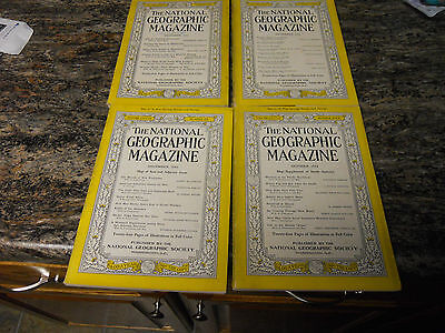 Four 1942 National Geographic magazine issues, 1 w/ Coca-Cola Santa ad on back