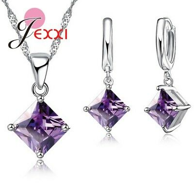 925 Sterling Silver PURPLE Square CZ Crystal Necklace  Earrings Jewelry Set Gift
