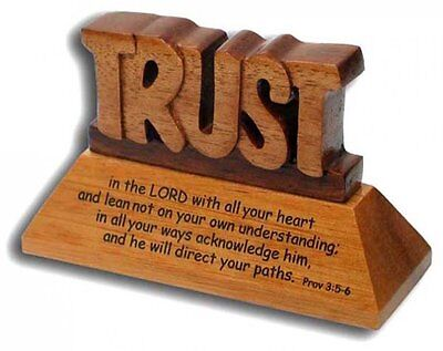 Christian wood mahogany Trust in the Lord Prov 3:5-6 desktop ornament gift