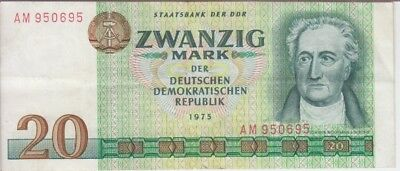 EAST GERMANY  BANKNOTE P.29a  20 MARK 1975 VERY FINE