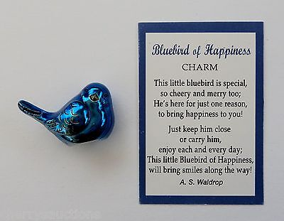 J BLUEBIRD OF HAPPINESS POCKET CHARM miniature figurine blue bird ganz symbol
