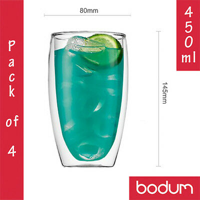 4x BODUM PAVINA Double Wall Insulated Thermo Glass Coffee Latte Tea Cups 450ml