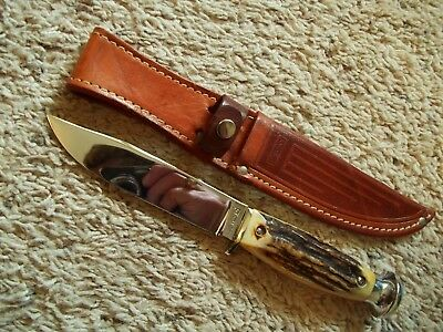 Vintage 1930s CASE XX serifs 5025-5 Stag 9 1/8+ Fixed Blade Hunting Sheath Knife