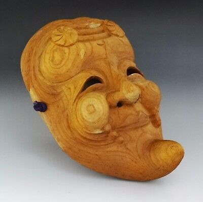 OM-D Japanese Antique Old Wooden Mask Buddhism Kagura Noh Tengu Vintage Rare