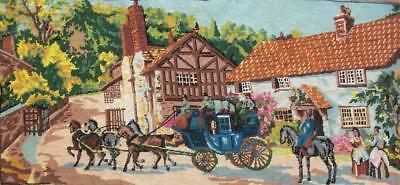 """vintage horse carriage completed cotton needlepoint 43""""x19"""" TAPESTRY"""
