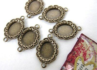 Antiqued Brass Ox Vintage Style Setting Filigree Bezel 2 Ring Connector 8x6mm