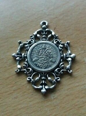 George V 1936 Threepence Coin Antique Silver Style Pocket Watch Chain Fob K5
