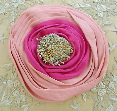"""Antique Silk Two Tone Pink Millinery Flower - 6"""" - Large Stamen Center"""