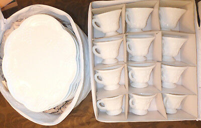 12 Sets Vintage HARVEST Grape Milk Glass Snack Plate & Tea Cup w/ Storage Contai