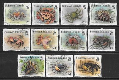 SOLOMON Is - 1993 Definitives - Crabs.  Part Set of 11, Used.  Various to $10