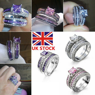 Women 925 Sterling Silver Crystal Zircon Wedding Engagement Rings Jewelry 6-10