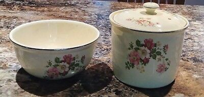 Paden City Bakserv W/ Lid Pink White Blossoms + Matching Serving Bowl 1930's