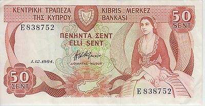 Cyprus Banknote P49-8752 50 Cent 1.12.1984, Vf+