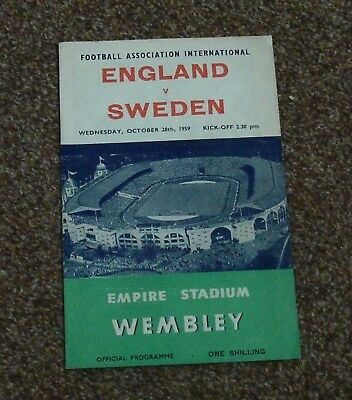 FOOTBALL PROGRAMME: ENGLAND v SWEDEN (International Friendly- 28th October 1959)