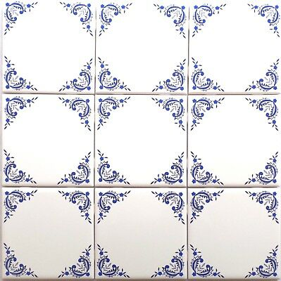 "Nine Blue Willow Ceramic 4.25"" Accent Tiles Kiln Fired Decor Decorative Corners"