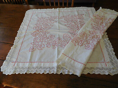 9-2017-Pair Of Turkey Red Plantation Pillow Cases-1 Damaged-1 Good-Lqqqkiee