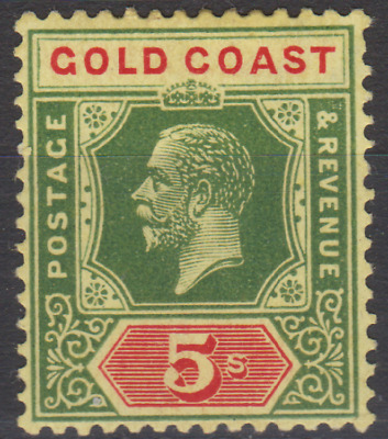 Gold Coast 1924 Mint Mounted 5/- Green & Red SG98