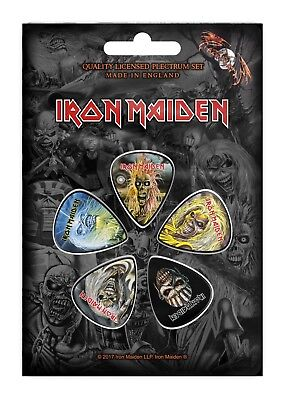 Official Licensed - Iron Maiden - Faces Of Eddie 5 Guitar Plectrum / Picks Pack
