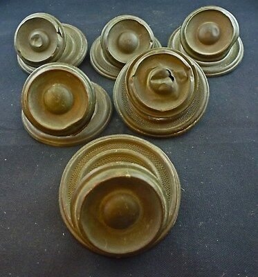 "Six Victorian Stamped Brass Hollow Pulls With 3"" Diameter Back Plates"