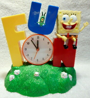 SpongeBob SquarePants FUN Talking Alarm Clock 2002 Has Directions, Tested Works!