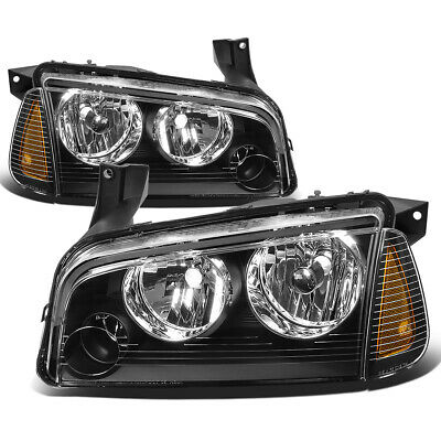 Fit 2006-2010 Dodge Charger Pair Black Houisng Headlight+Amber Turn Signal Lamp