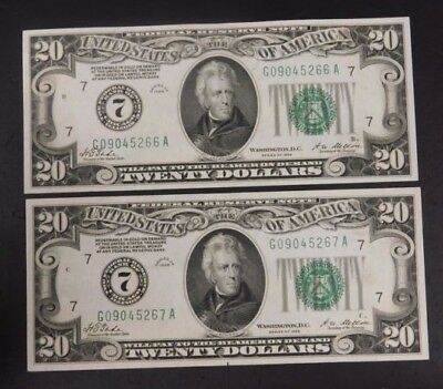 Lot of (2) 1928 UNC. Consecutive $20 Bills! Redeemable in Gold! AUCTION!
