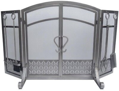 2 Door, 3 Panel Steel Fireplace Screen with Tools Set