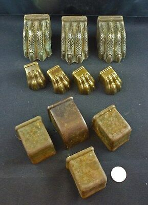 Vintage Lot of Brass Lion's Paw Claw Feet Covers Plus Plain Toe Covers