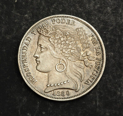 1880, Peru (Republic). Nice Silver 1 Peseta Coin. Variety with dot after B!