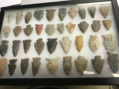 Nice Framed Collection Of 38 Indian Arrowheads Kentucky & Tennessee Pinetree