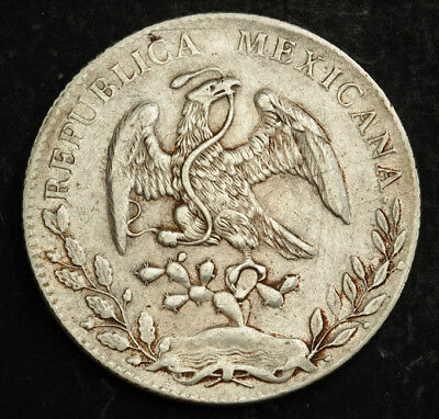 1896, Mexico(2nd Republic). Large Silver 8 Reales (Cap Dollar) Coin.Guanajuato!