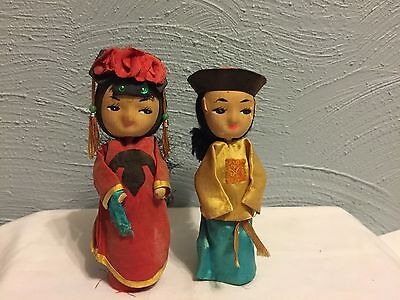 PAIR Vintage ASIAN Chinese DOLLS Girl & Boy Silk Clothing 6.5""