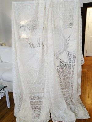 Circa 1920, Two Ornate Normandy Lace Bedspreads