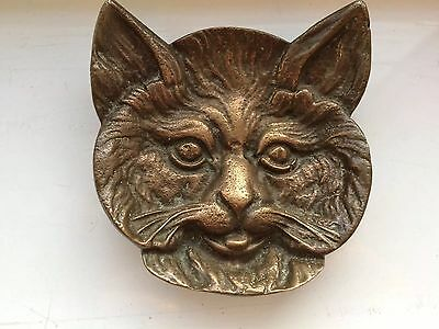 Art nouveau bronze tray Pin dish cat face pin tray.