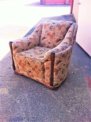 Vintage Antique 1920's Chair Western Upholstery