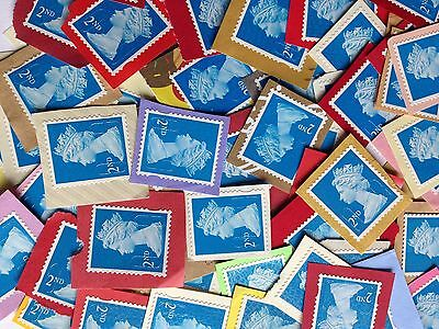 100 x 2nd Second Class Unfranked Security Type Stamps On Coloured Paper