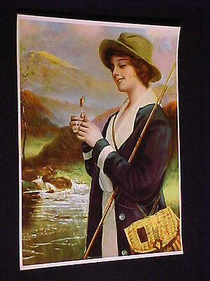 R Atkinson Fox Maybe Vintage 1915 Chromolitho Art Print Woman Fly Fishing Nmint