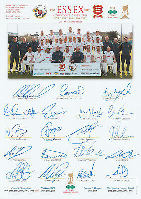 2017 ESSEX (Champions) TeamSheet, SIGNED x19 inc 8 Test Players