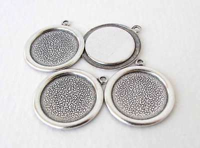 Antiqued Silver Ox Frame Setting Round Cabochon Bezel 15mm