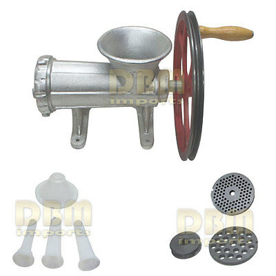 No. 32 Meat Grinder Ball Bearing Sausage Stuffer Maker 2 Plates w/ Motor Pulley